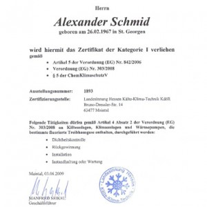 Klimaanlagen München - Zertifizierung der Kategorie 1